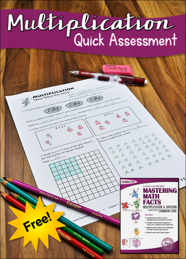 Free Show What You Know printable for assessing knowledge of basic multiplication concepts. This freebie can be found in the Mastering Math Facts sampler on this page.