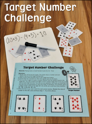Target Number Challenge Game in Math Stations for Middle Grades