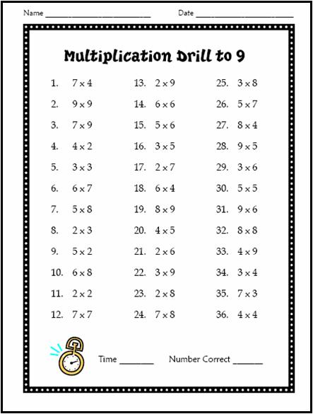 Multiplication Drill Worksheet