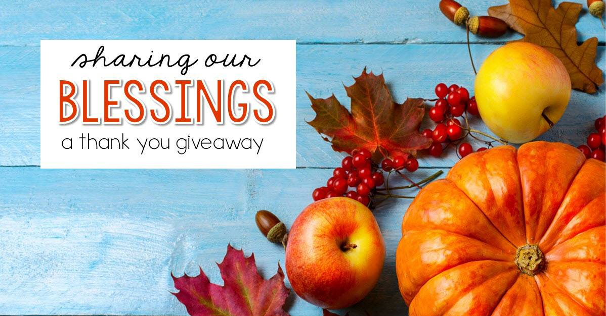 Sharing Our Blessings - A Thank You Giveaway
