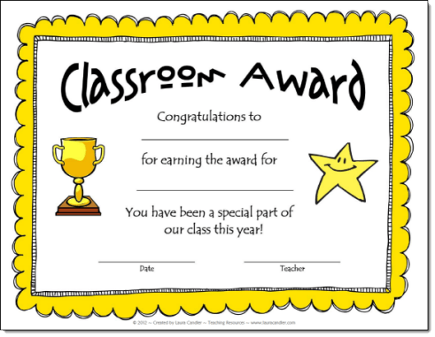 classroom awards make kids feel special
