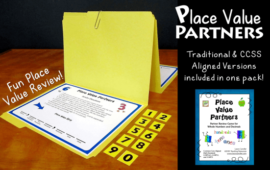 Place Value Partners game and three more math center games for reviewing place value.