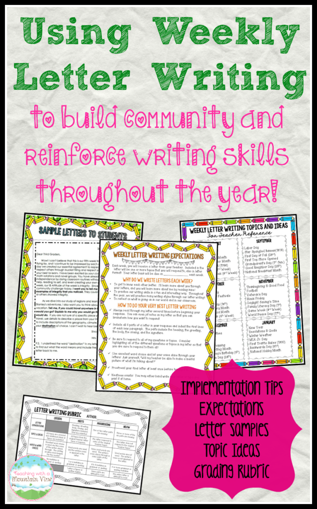 Letter To Students.Using Weekly Letter Writing In The Classroom