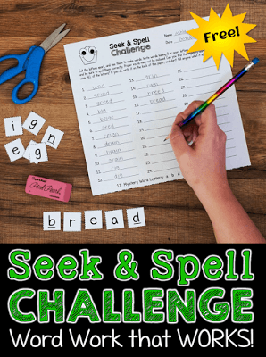 Seek and Spell Challenge activity for Literacy Centers