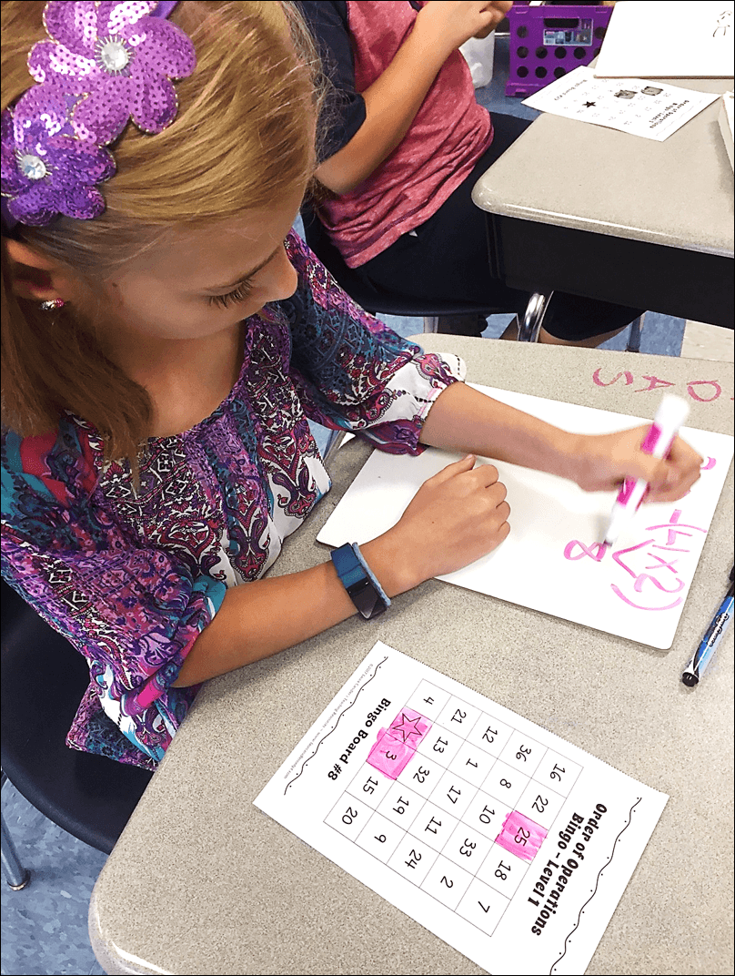 Order of Operation Bingo is a fun and effective math game for practicing order of operations skills. #orderofoperations