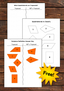 Did you know that there are THREE ways to define a trapezoid? If you're not sure which definition you're supposed to be teaching, check out this blog post from Laura Candler! You'll learn strategies for teaching kids to classify trapezoids, and the post includes a sorting freebie as well as links to additional hands-on resources for classifying quadrilaterals.