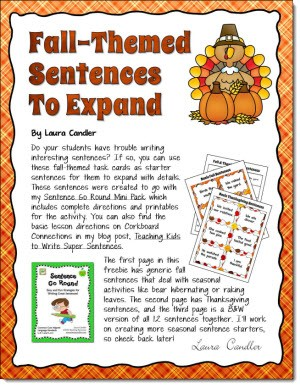 Fall-themed Sentence Freebie
