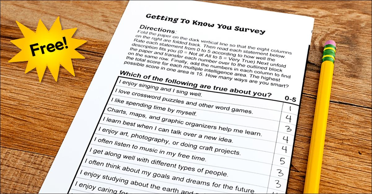 Free Multiple Intelligences Survey for Kids