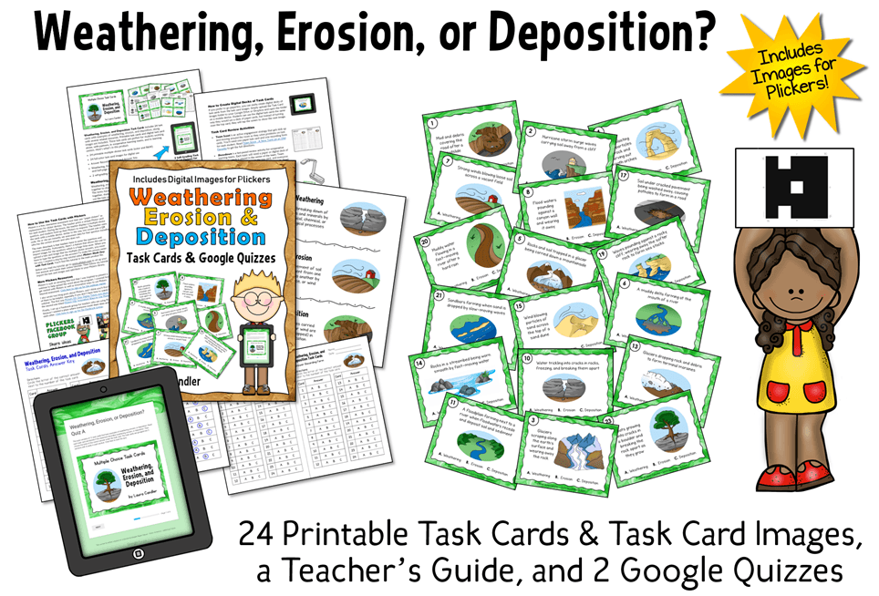 Weathering, Erosion, and Depostion task cards and teaching resources from Laura Candler