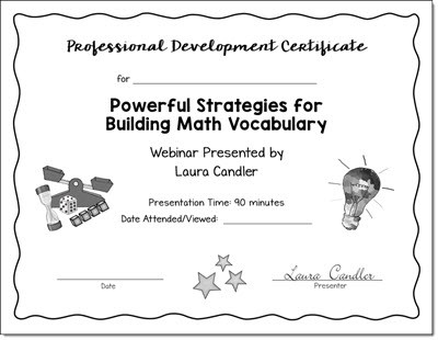 Task Cards Webinar PD Certificate