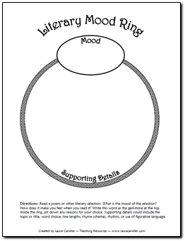 Literary Mood Ring Graphic Organizer Freebie