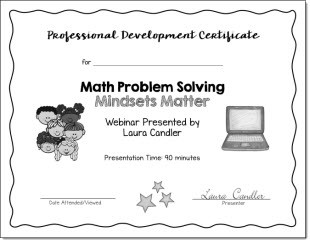 Math Problem Solving: Mindsets Matter PD Certificate