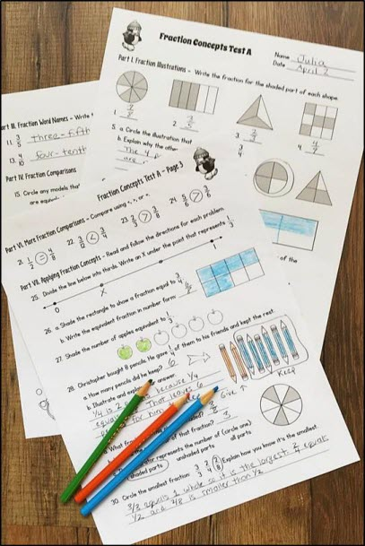 Basic Fraction Concepts Assessment Pack