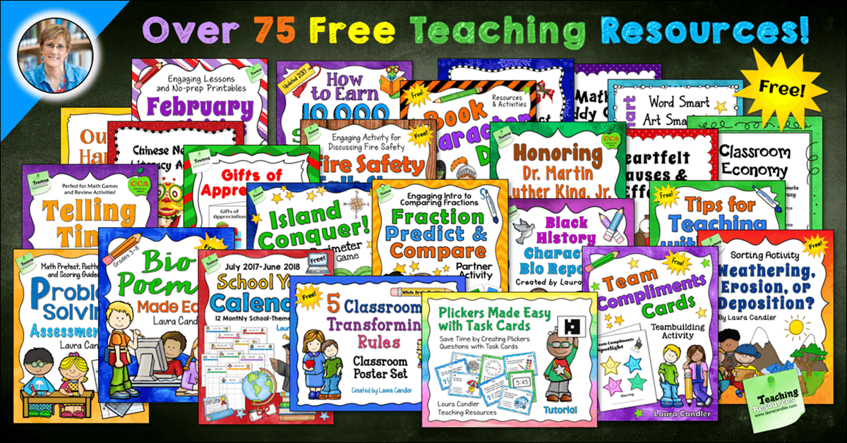 Sign up for the Candler's Classroom Connections newsletter and get access to a private page with over 75 of Laura Candler's very best freebies for teachers!