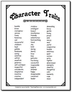 Effortless image intended for character traits printable