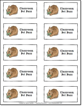 Free Classroom Pet Passes to give to students as rewards.