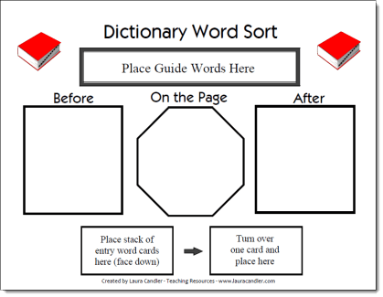 Dictionary Word Sort Game Board