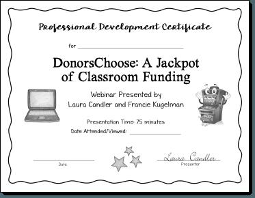 DonorsChoose Webinar PD Certificate
