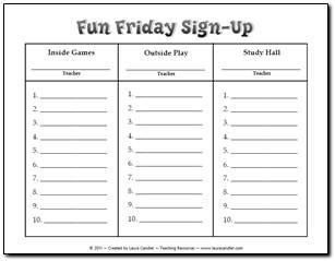 Fun Friday Sign Up