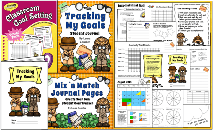 Goal Setting Combo from Laura Candler includes Classroom Goal Setting and Tracking My Goals Student Journal Pages