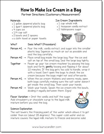 Free Recipe for Making Ice Cream in a Bag - Includes two recipes, one using customary measurement and one using metric measurement.