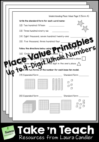 Place Value Printables - Numbers Up to 4 Digits
