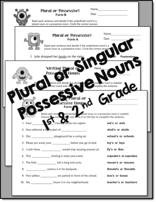 Plural or Singular Possessive Noun Printables