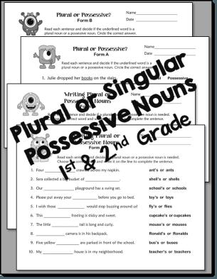 Plural or Singular Possessive Noun Printables