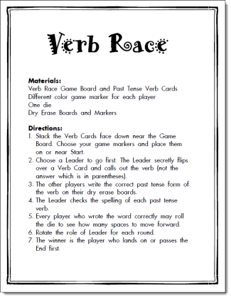 Verb Race Game Freebie