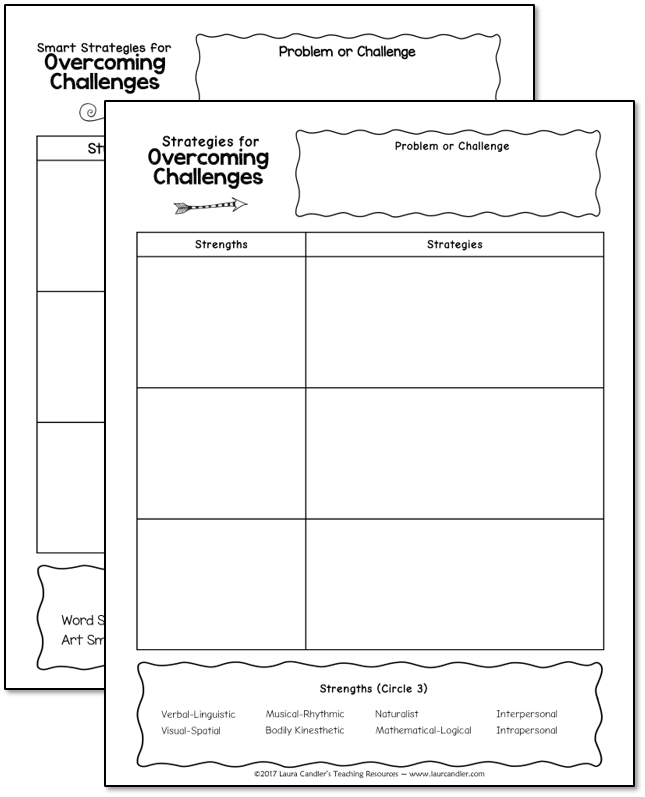 Free graphic organizer: Strategies for Overcoming Challenges. Use this MI Theory and Growth Mindset freebie to help your students discover their own strengths so they can use those skills to overcome challenges.
