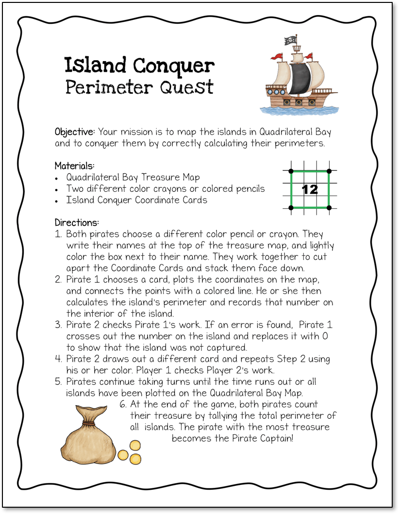 Island Conquer Area and Perimeter Game Freebie